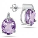SZUL: 9克拉椭圆淡紫色宝石耳钉