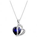 7.5克拉蓝宝石搭配白水晶纯银双心吊坠项链