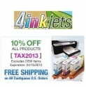 4InkJets 官网限时促销:订单可享10% OFF 优惠