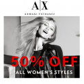 Armani Exchange: Extra 50% OFF Women's Styles