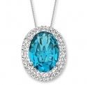 12 ct 蓝色施华洛世奇水晶椭圆吊坠纯银项链