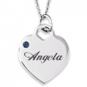 Engraved Birthstone Heart Charm Necklace $12.99