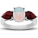 3 ct 猫眼石搭配石榴红宝石纯银戒指