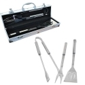 4-Piece Stainless Steel Barbecue Set with Aluminum Carrying Case