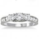 SZUL: 1克拉钻石10K白金戒指