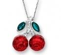施华洛世奇元素水晶可爱樱桃吊坠纯银项链