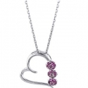 Netaya 今日特卖: 1/2 克拉紫红小花心形银吊坠