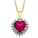Jewelry.com: 紫红色心形宝石镀金项链