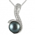 SZUL: 6MM 自然淡水黑珍珠纯银吊坠