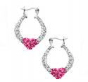 精美白色和玫瑰红施华洛世奇水晶元素心形纯银耳环