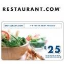 Restaurant.com: 价值$25的Restaurant礼品券仅售$7