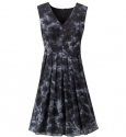 Cloud print chiffon dress