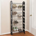BrylaneHome Black 30-Pair Floor Shoe Rack