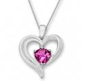Pink Sapphire Heart Pendant with Diamond 粉色蓝宝石镶钻心形吊坠纯银项链